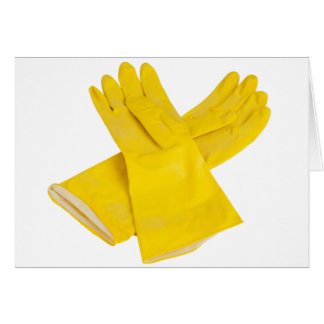 Pair of latex gloves greeting card