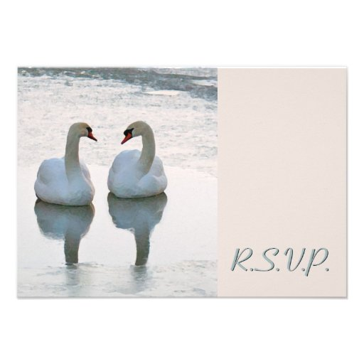 Pair of Lovebird Swans Gazing Wedding RSVP Personalized Announcements