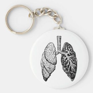 pair of lungs basic round button key ring