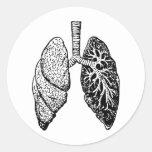 pair of lungs round sticker