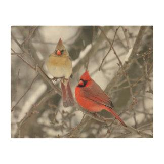 Pair Of Northern Cardinals Wood Print