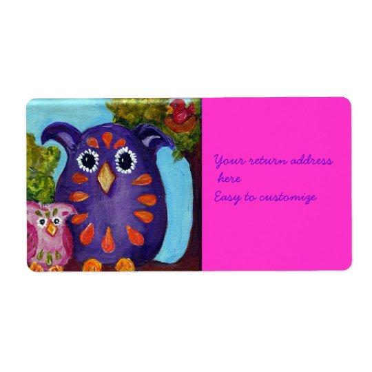 Pair of Owl Pals Address Sticker