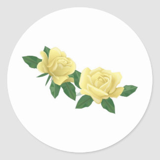 Pair of Pale Yellow Roses Round Sticker