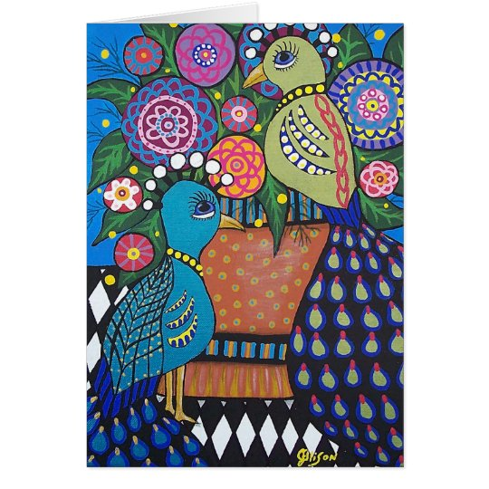 Pair of Peacocks Customisable Greeting Card