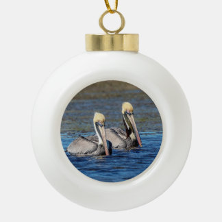Pair of Pelicans Ceramic Ball Christmas Ornament