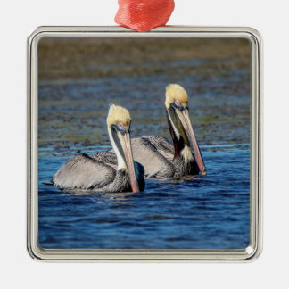 Pair of Pelicans Christmas Ornament