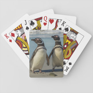 Pair of penguins on the beach playing cards
