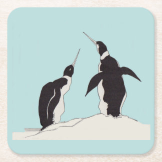 pair of penguins square paper coaster