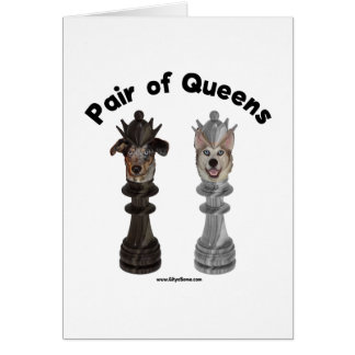 Pair of Queens Chess Dogs Note Card