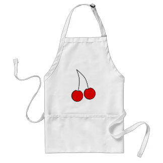 Pair of Red Cherries. Black Outline. Standard Apron