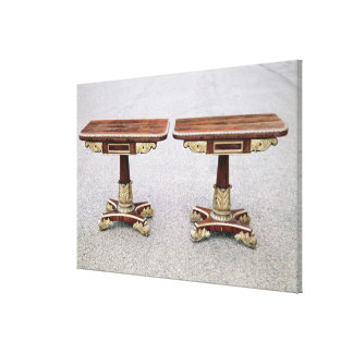Pair of Regency card tables on quadruple bases Canvas Print