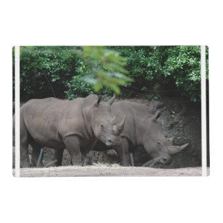 Pair of Rhinos Laminated Place Mat