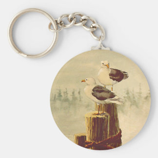PAIR of SEAGULLS by SHARON SHARPE Basic Round Button Key Ring