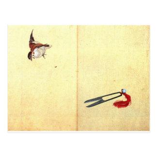 Pair of sissors and sparrow by Katsushika Hokusai Postcard