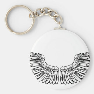 Pair of Spread Wings Basic Round Button Key Ring