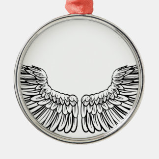 Pair of Spread Wings Silver-Colored Round Decoration