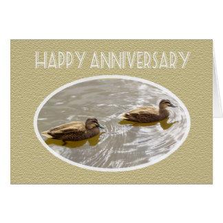 Pair of swimming ducks, Happy Anniversary Greeting Card