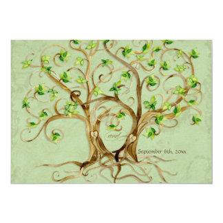 Pair of Swirl Tree Roots Antiqued Green Parchment Card