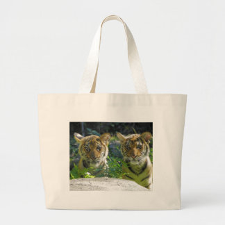 Pair of Tiger Cubs Portrait Large Tote Bag