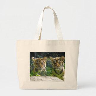 Pair of Tiger Cubs Portrait Jumbo Tote Bag