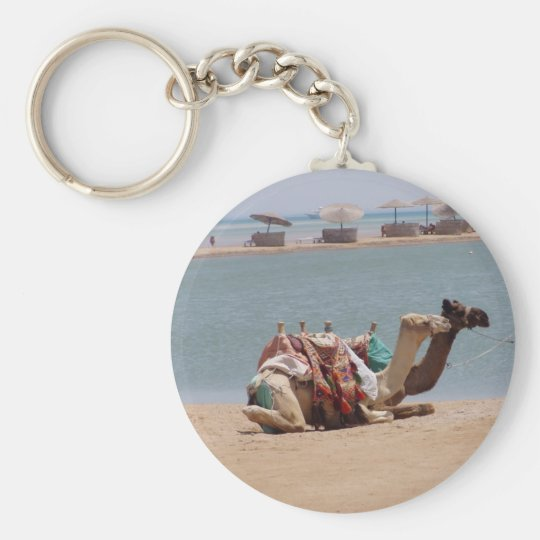 Pair Of Traditional Camels Sitting At The Beach. Basic Round Button Key Ring