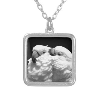 Pair of umbrella cockatoos silver plated necklace