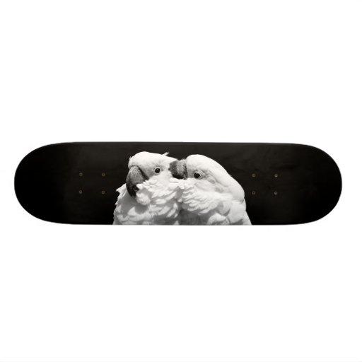 Pair of umbrella cockatoos skateboard decks