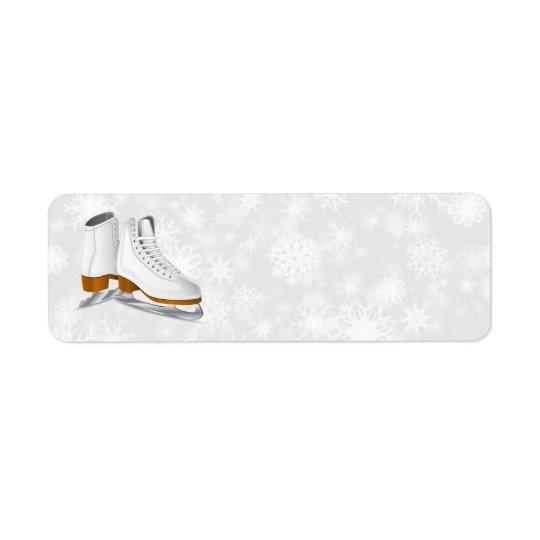 pair of white ice skates address labels