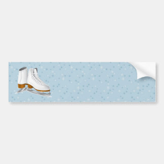 pair of white ice skates bumper sticker