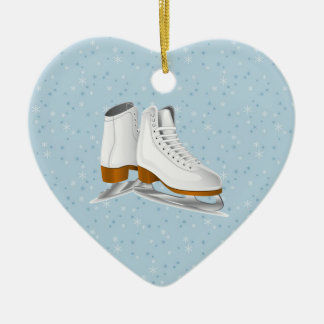 pair of white ice skates christmas ornament