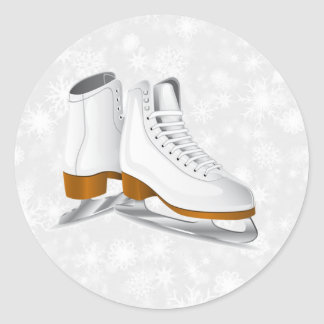 pair of white ice skates classic round sticker