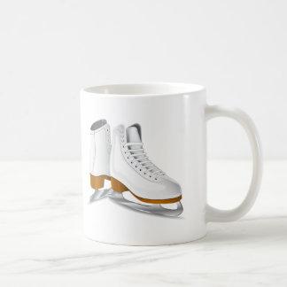 pair of white ice skates coffee mug