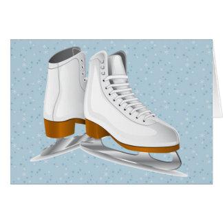 pair of white ice skates greeting card