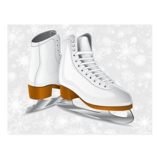 pair of white ice skates postcard