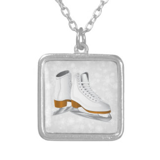 pair of white ice skates silver plated necklace