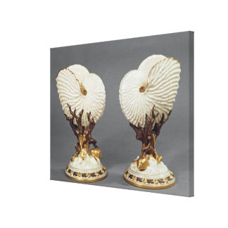 Pair of Worcester vases shaped as Nautilus Canvas Print