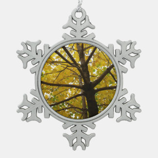 Pair of Yellow Maple Trees Autumn Nature Pewter Snowflake Decoration