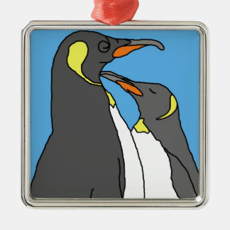 Paired King Penguin Silver-Colored Square Decoration