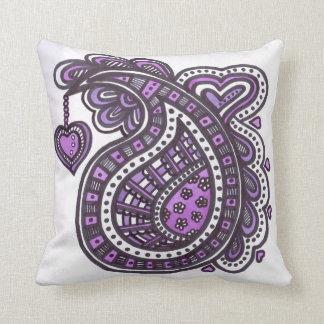 Paisley and heart design cushion