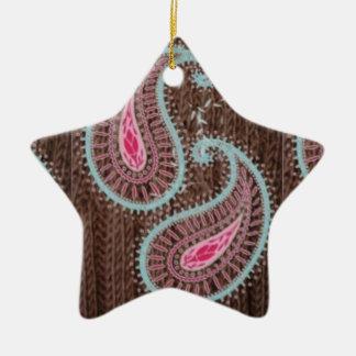 Paisley and knitting ceramic star decoration