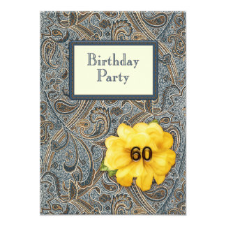Paisley and Rose Birthday 60 Card