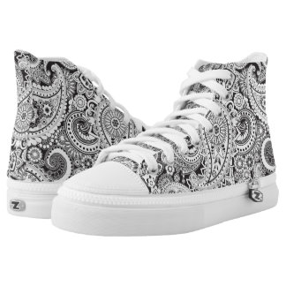 Paisley B/W High Tops
