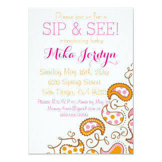 Paisley Baby Sip and See Card