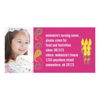 Paisley Birthdy Photo Invitation Photo Card Template
