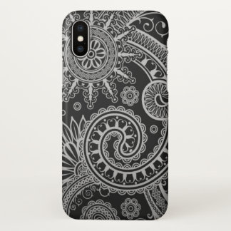 Paisley Black and Grey Floral Pattern iPhone X Case