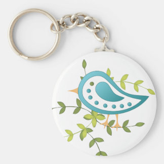 Paisley Blue Bird of Happiness Basic Round Button Key Ring