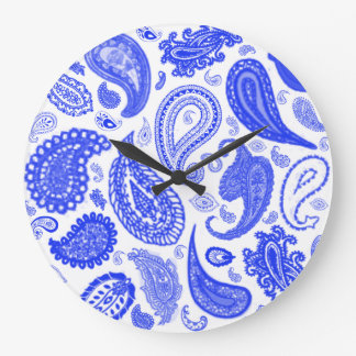 Paisley Blue Designer Wall Clock by Julie Everhart