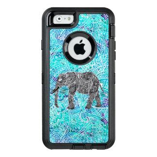 Paisley boho elephant blue turquoise illustration OtterBox defender iPhone case