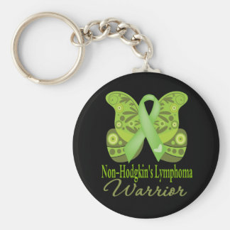 Paisley Butterfly - Non-Hodgkins Lymphoma Warrior Basic Round Button Key Ring