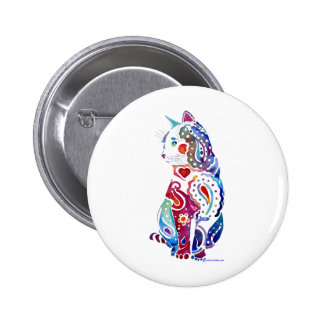 Paisley Cat Designs 6 Cm Round Badge